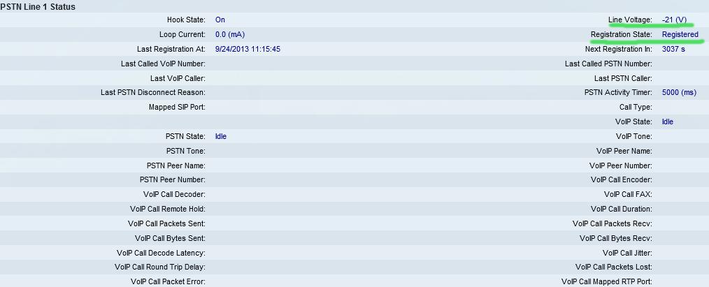 spa8800 pstn status