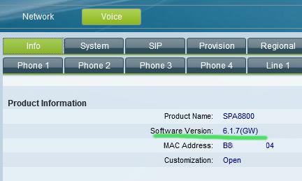 spa8800 software version