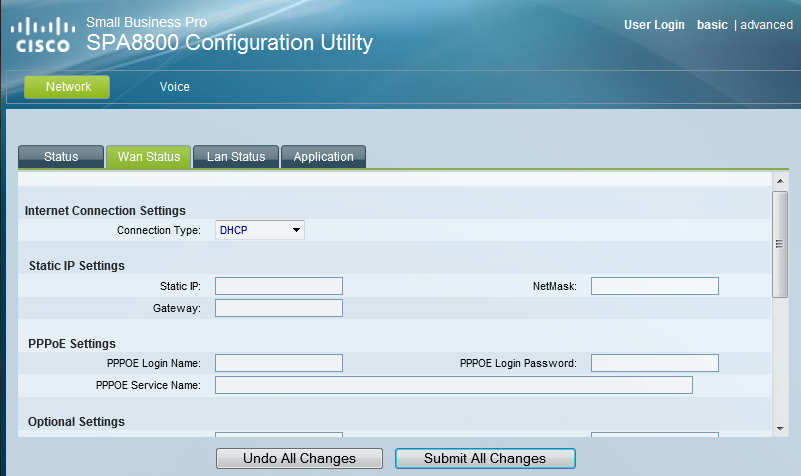 spa8800 network settings