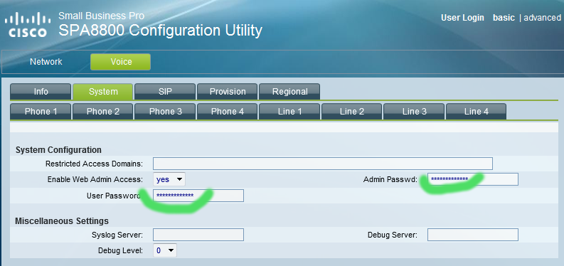 spa8800 change password