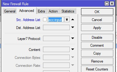mikrotik filter rule address list