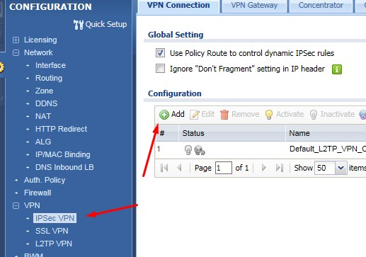 zyxel ipsec vpn connection