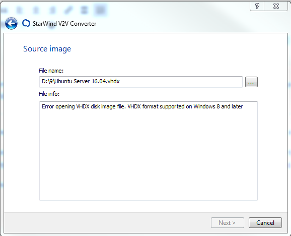 VHDX format supported on Windows 8 and later